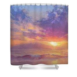 Coastal Hawaiian Beach Sunset Landscape And Ocean Seascape Shower Curtain