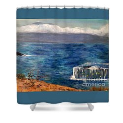 Shower Curtain featuring the painting Frida Goes To Maui by Vanessa Palomino