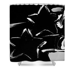 Max Two Stars In Black And White Shower Curtain by Rob Hans