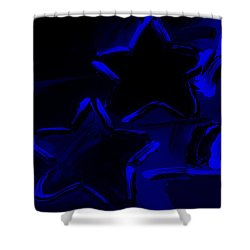 Max Two Stars In Blue Shower Curtain by Rob Hans