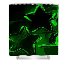 Max Two Stars In Green Shower Curtain by Rob Hans