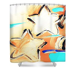 Max Two Stars In Inverted Colors Shower Curtain by Rob Hans