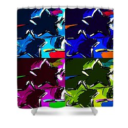 Max Two Stars In Pf Quad Colors Shower Curtain by Rob Hans