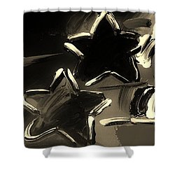 Max Two Stars In Sepia Shower Curtain by Rob Hans