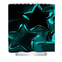 Max Two Stars In Turquois Shower Curtain by Rob Hans