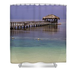 Maya Key Pier At Roatan Shower Curtain by Suzanne Luft