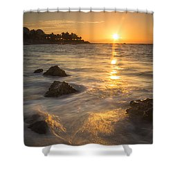 Mayan Coastal Sunrise Shower Curtain by Adam Romanowicz