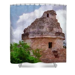 Mayan Observatory Shower Curtain by Jeff Kolker