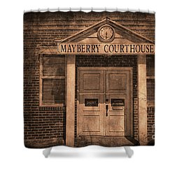 Mayberry Courthouse Shower Curtain by David Arment