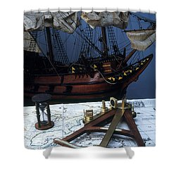 Mayflower Model With Quadrant Shower Curtain by Fred Maroon