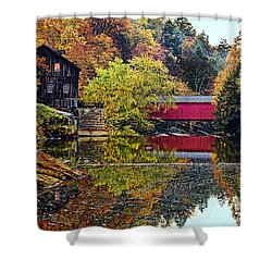 Mcconnell's Mill And Covered Bridge Shower Curtain by Marcia Colelli