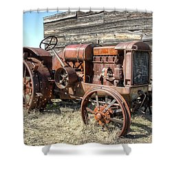 Mccormick-deering Hand-crank Start Tractor Shower Curtain by Daniel Hagerman