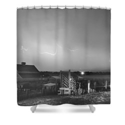 Mcintosh Farm Lightning Thunderstorm View Bw Shower Curtain by James BO  Insogna
