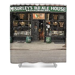 Mcsorley's Old Ale House During A Snow Storm Shower Curtain