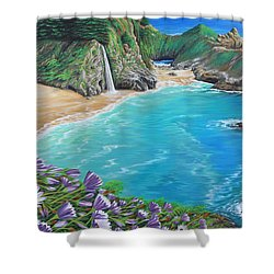 Shower Curtain featuring the painting Mcway Falls by Jane Girardot