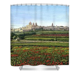 Mdina Poppies Malta Shower Curtain by Richard Harpum