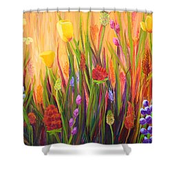 Shower Curtain featuring the painting Meadow Gold by Nancy Jolley