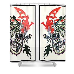 Mech Dragons Collide Shower Curtain