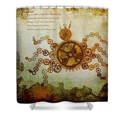 Mechanical - Arachnid Shower Curtain by Fran Riley