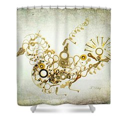 Mechanical - Bird Shower Curtain by Fran Riley