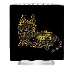 Mechanical - Cat Shower Curtain by Fran Riley