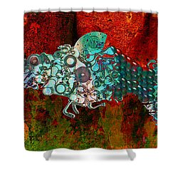 Mechanical - Fish Shower Curtain by Fran Riley