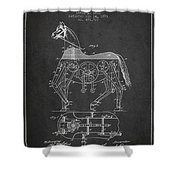Mechanical Horse Patent Drawing From 1893 - Dark Shower Curtain by Aged Pixel