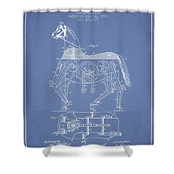 Mechanical Horse Patent Drawing From 1893 - Light Blue Shower Curtain by Aged Pixel