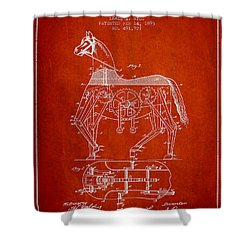 Mechanical Horse Patent Drawing From 1893 - Red Shower Curtain by Aged Pixel