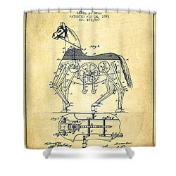Mechanical Horse Patent Drawing From 1893 - Vintage Shower Curtain by Aged Pixel