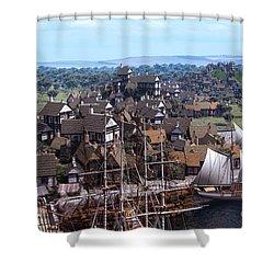 Med Village Shower Curtain by Dominic Davison