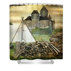 Medieval Castle Of Montrottier - France Shower Curtain by Barbara Orenya
