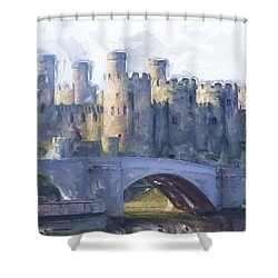 Medieval Conwy Castle.  Shower Curtain