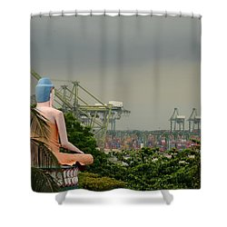 Shower Curtain featuring the photograph Meditating Buddha Views Container Seaport Singapore by Imran Ahmed