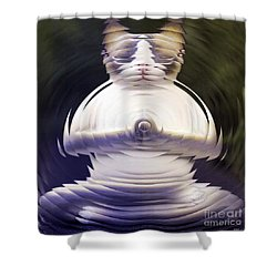 Meditation Kitty Shower Curtain by Elizabeth McTaggart