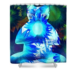 Meditation Kitty / Midnight Meditations On The Blue Sunflower Shower Curtain by Elizabeth McTaggart