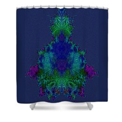 Shower Curtain featuring the digital art Meditation Mandelbulb Fractal by Digital Feng Shui