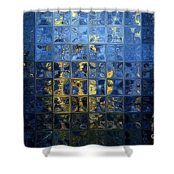 Mediterranean Blue. Modern Mosaic Tile Art Painting Shower Curtain by Mark Lawrence