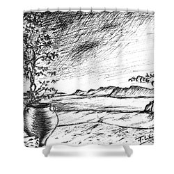 Shower Curtain featuring the drawing Mediterranean Cat by Teresa White