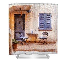 Mediterranean House Shower Curtain by Pixel  Chimp