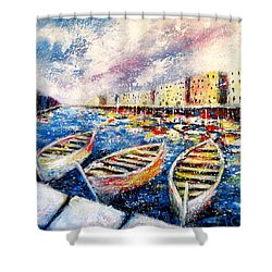 Mediterranean Port Colours Shower Curtain