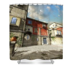 Mediterranean Street Shower Curtain by Cynthia Decker