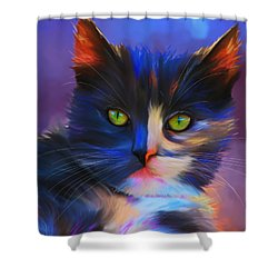Meesha Colorful Cat Portrait Shower Curtain