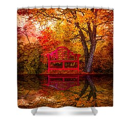 Meet Me At The Pond Shower Curtain by Debra and Dave Vanderlaan