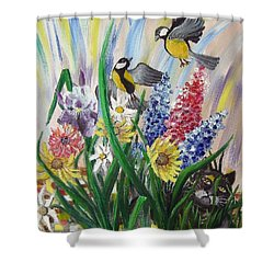 Meeting In The Garden Shower Curtain