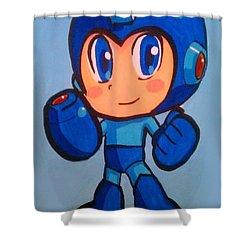 Mega Man Shower Curtain by Marisela Mungia