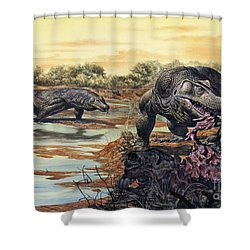 Megalania Giant Monitor Lizard Eating Shower Curtain