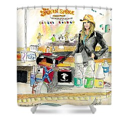 Meghan At The Broken Spoke Saloon Shower Curtain by Albert Puskaric