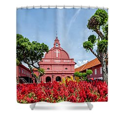 Melaka Red Square Shower Curtain by Adrian Evans