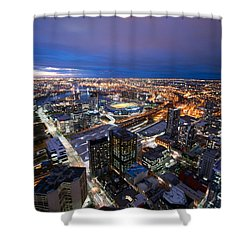 Melbourne At Night Shower Curtain by Ray Warren